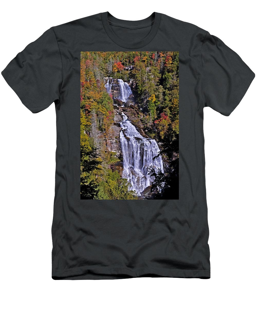 White Water Falls Men's T-Shirt (Athletic Fit) featuring the photograph White Water Falls by John Gilbert