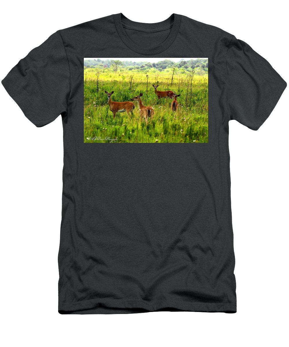Whitetail Deer Men's T-Shirt (Athletic Fit) featuring the photograph Whitetail Deer Family by Barbara Bowen