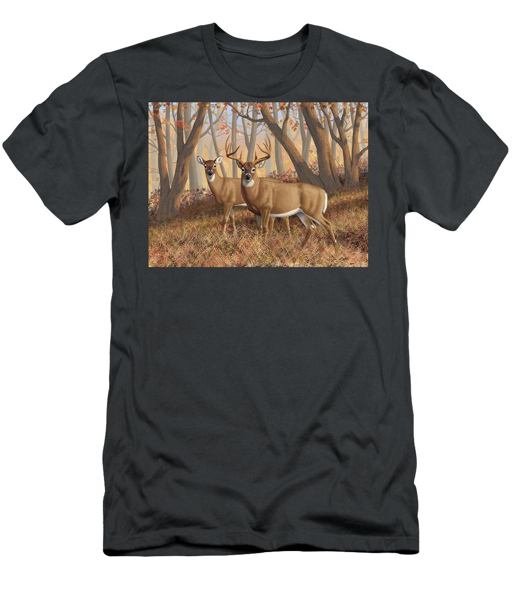Deers Men's T-Shirt (Athletic Fit) featuring the painting Whitetail Deer Painting - Fall Flame by Crista Forest
