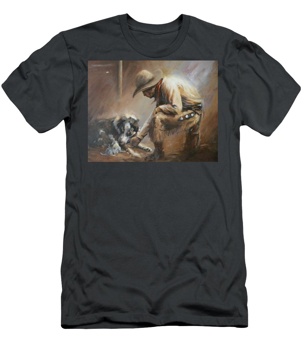 Cowboys Men's T-Shirt (Athletic Fit) featuring the painting Who's Your Daddy by Mia DeLode