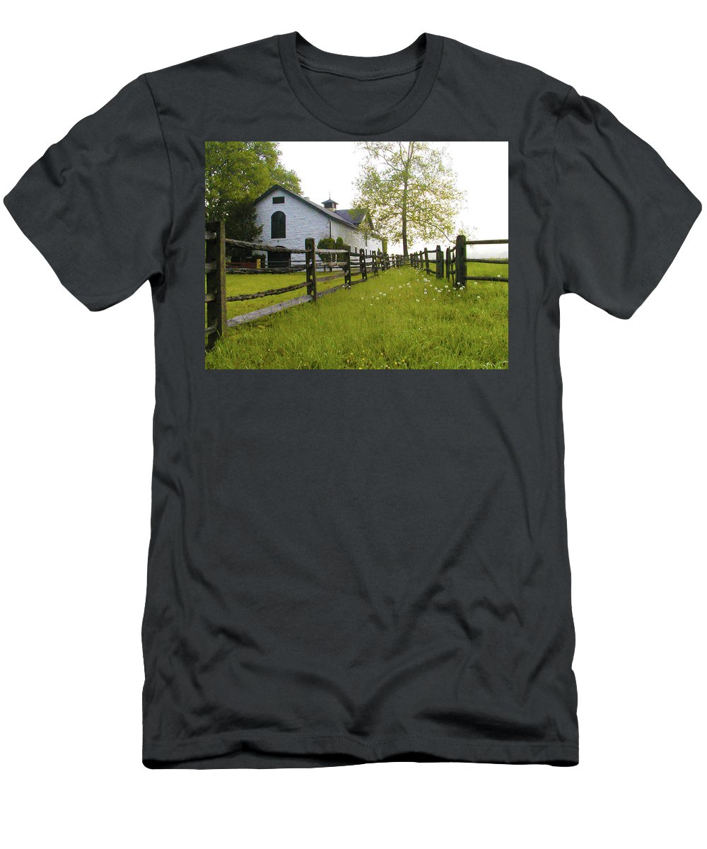Widner Men's T-Shirt (Athletic Fit) featuring the photograph Widener Farms Horse Stable by Bill Cannon
