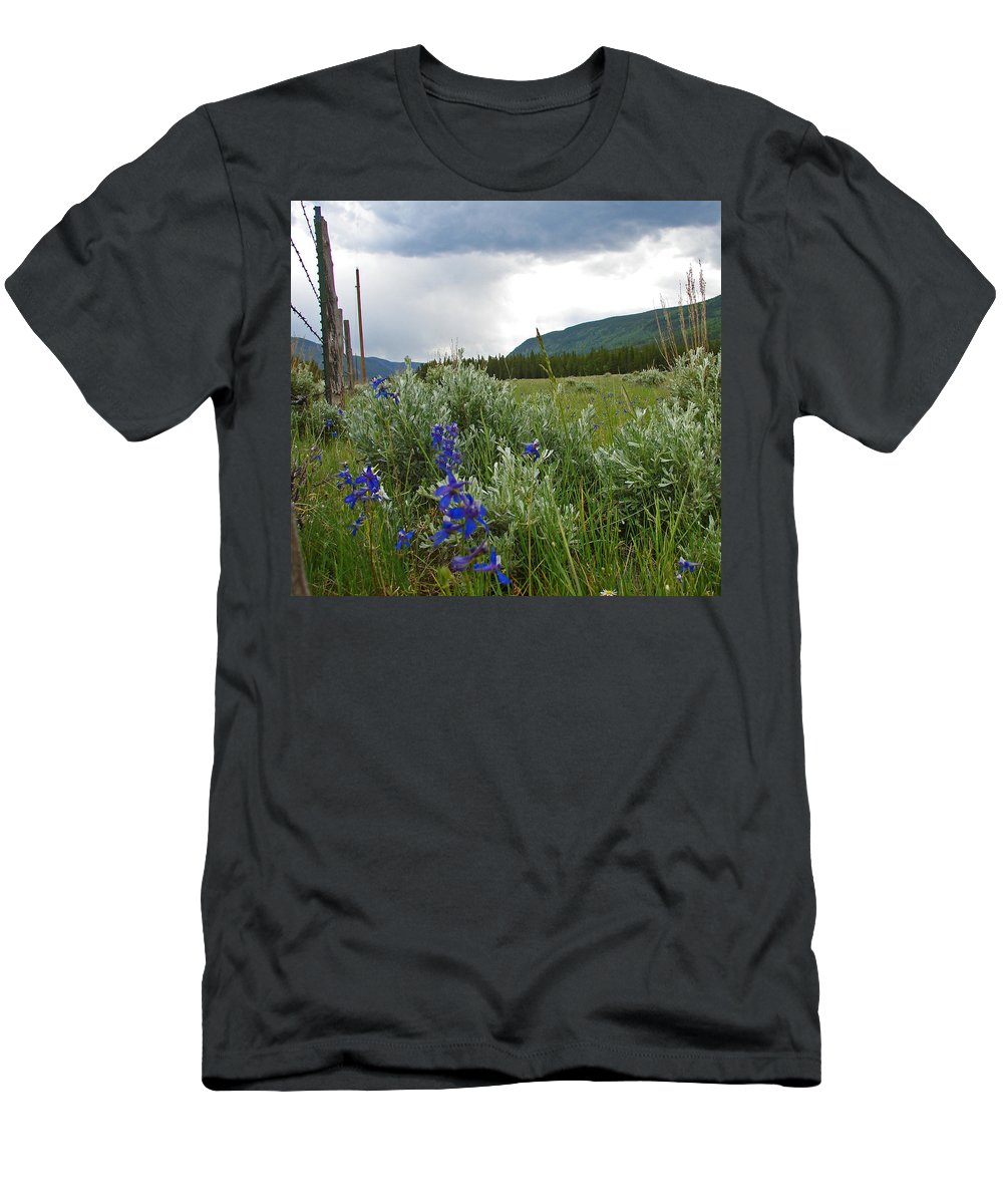 Wild Flowers Men's T-Shirt (Athletic Fit) featuring the photograph Wild Delphinium by Heather Coen