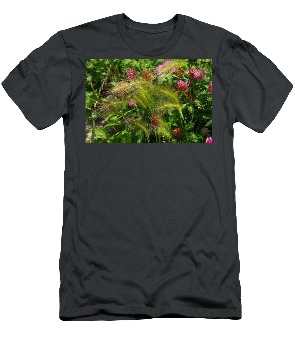 Grass Men's T-Shirt (Athletic Fit) featuring the photograph Wild Grasses And Red Clover by Kathryn Meyer