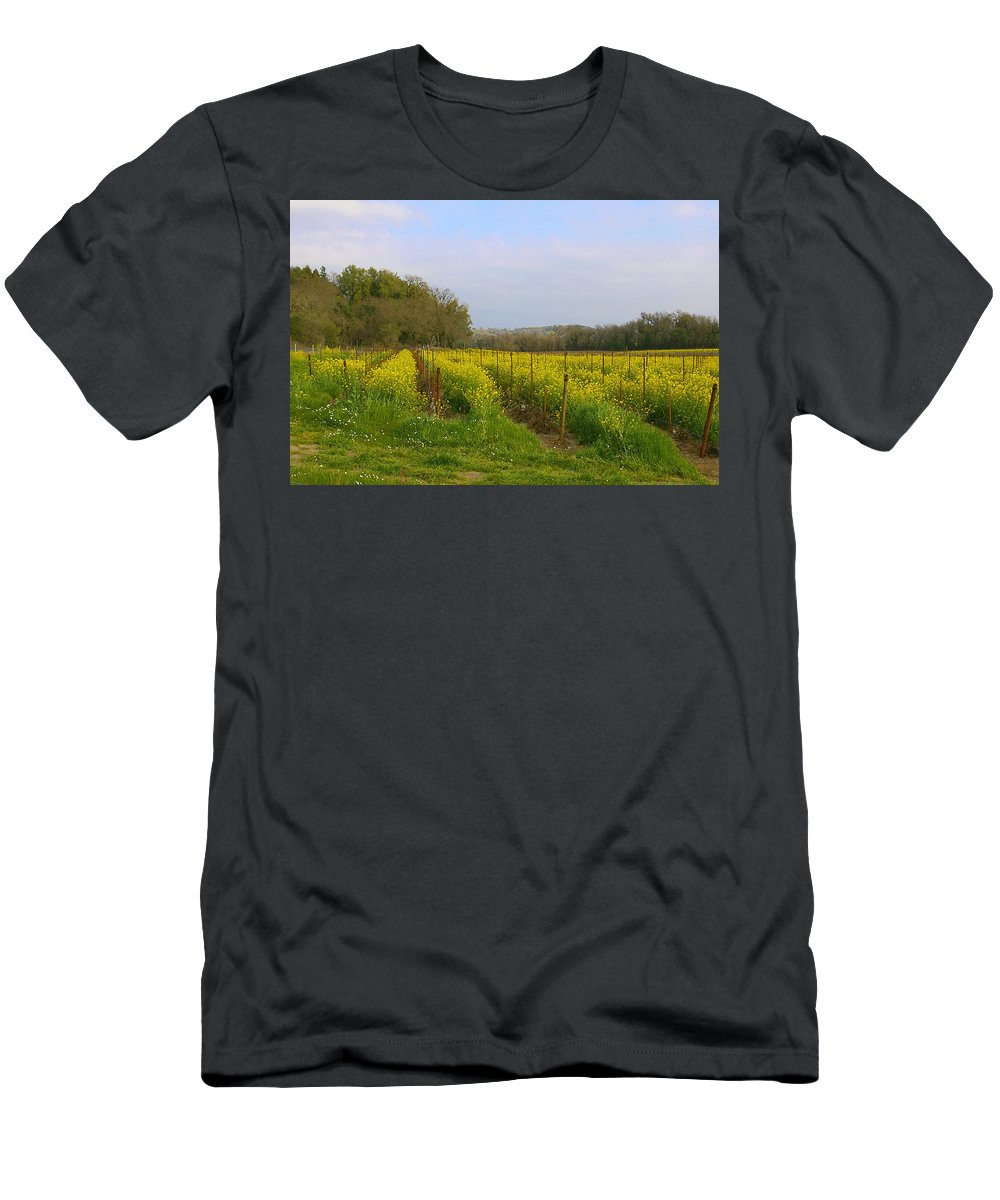 Mustard Men's T-Shirt (Athletic Fit) featuring the photograph Wild Mustard Fields by Tom Reynen