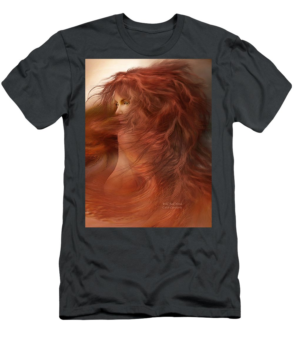 Carol Cavalaris Men's T-Shirt (Athletic Fit) featuring the mixed media Wild Red Wind by Carol Cavalaris