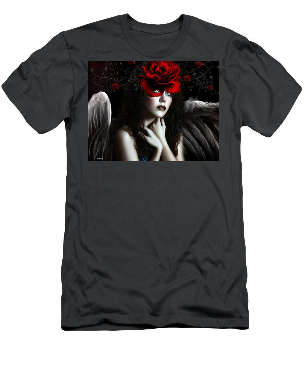 Sensual Men's T-Shirt (Athletic Fit) featuring the mixed media Wild Rose Angel by G Berry