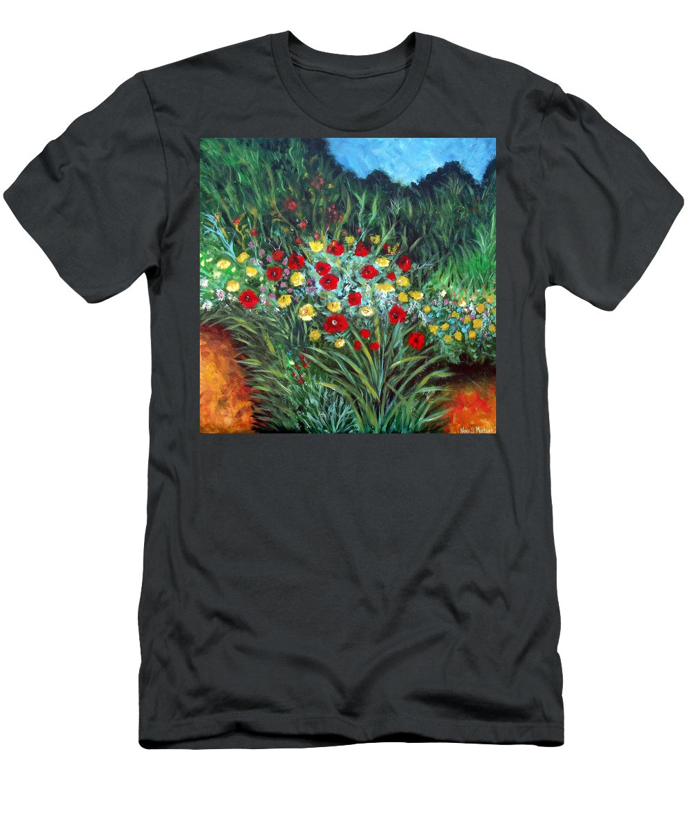 Abstract Men's T-Shirt (Athletic Fit) featuring the painting Wildflower Garden 1 by Nancy Mueller