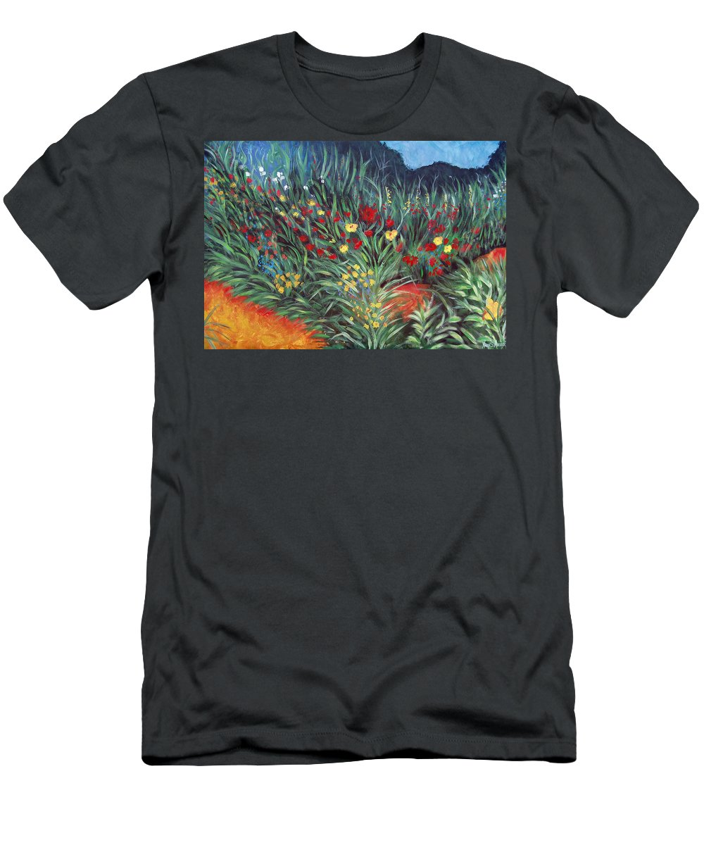 Landscape Men's T-Shirt (Athletic Fit) featuring the painting Wildflower Garden 2 by Nancy Mueller