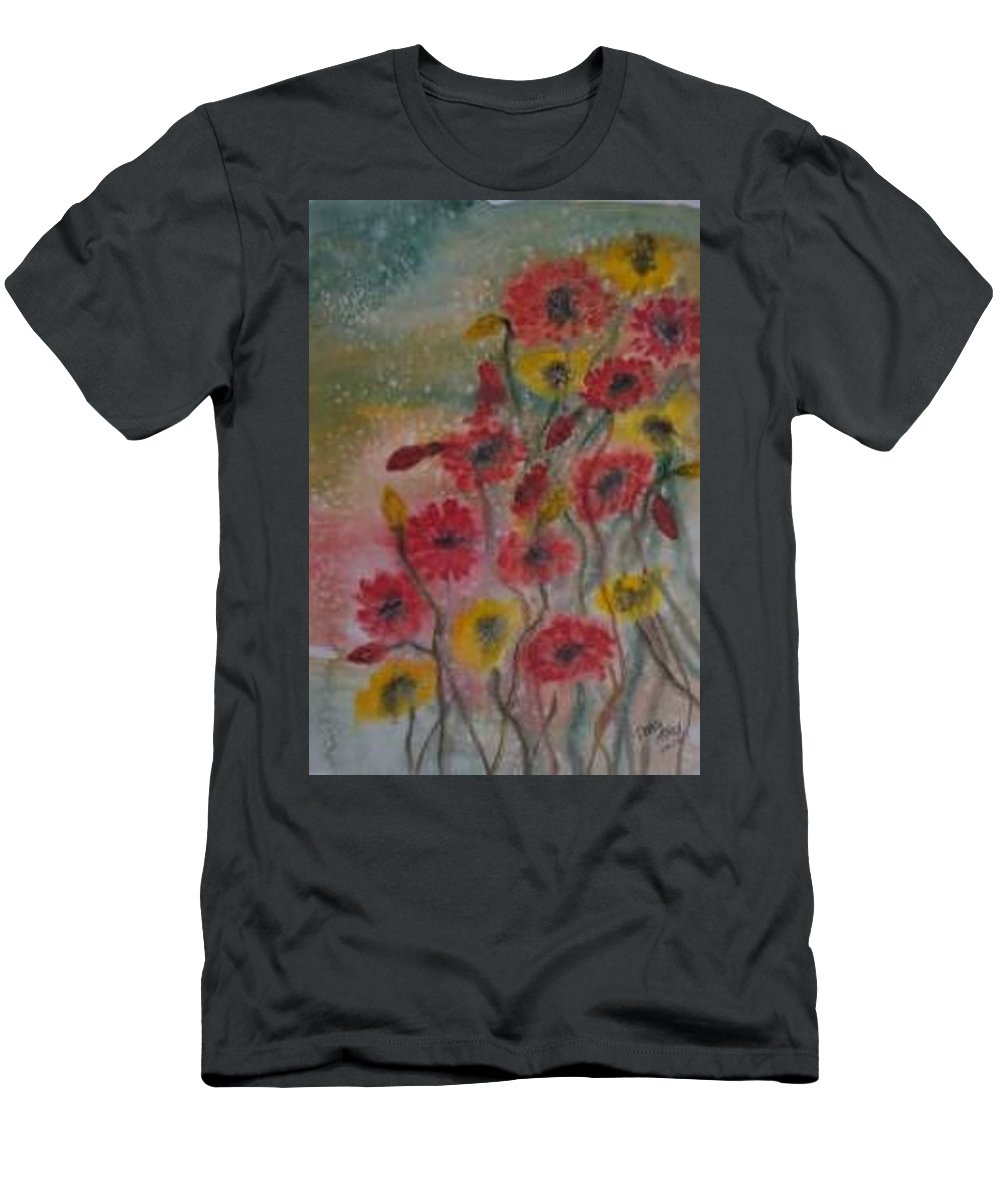 Watercolor Men's T-Shirt (Athletic Fit) featuring the painting Wildflowers Still Life Modern Print by Derek Mccrea
