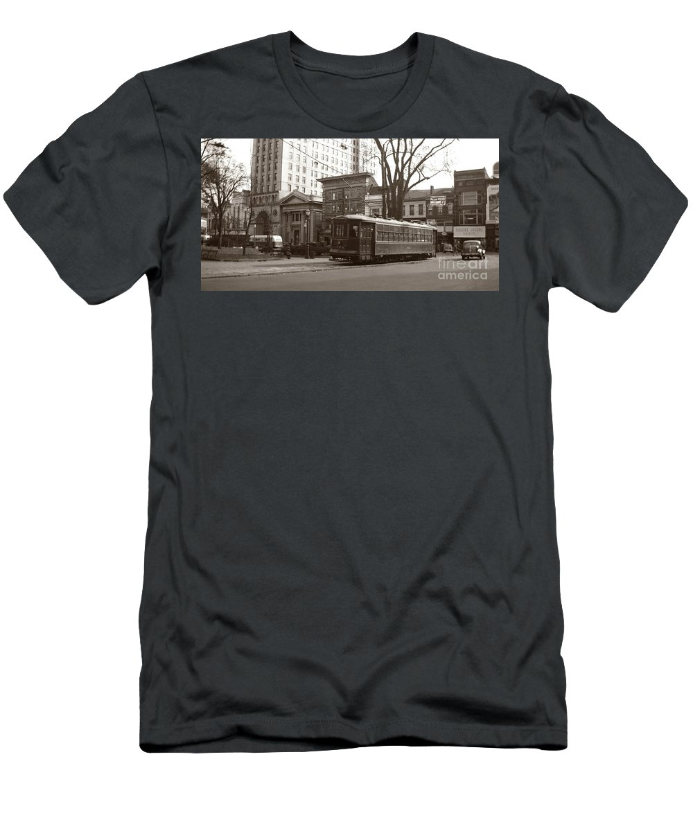 Wilkes Barre Men's T-Shirt (Athletic Fit) featuring the photograph Wilkes Barre Pa Public Square Oct 1940 by Arthur Miller