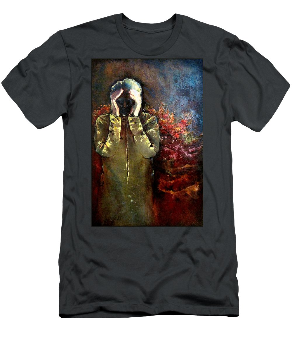 Heartbreak Men's T-Shirt (Athletic Fit) featuring the painting Willful Amnesia by Shadia Derbyshire