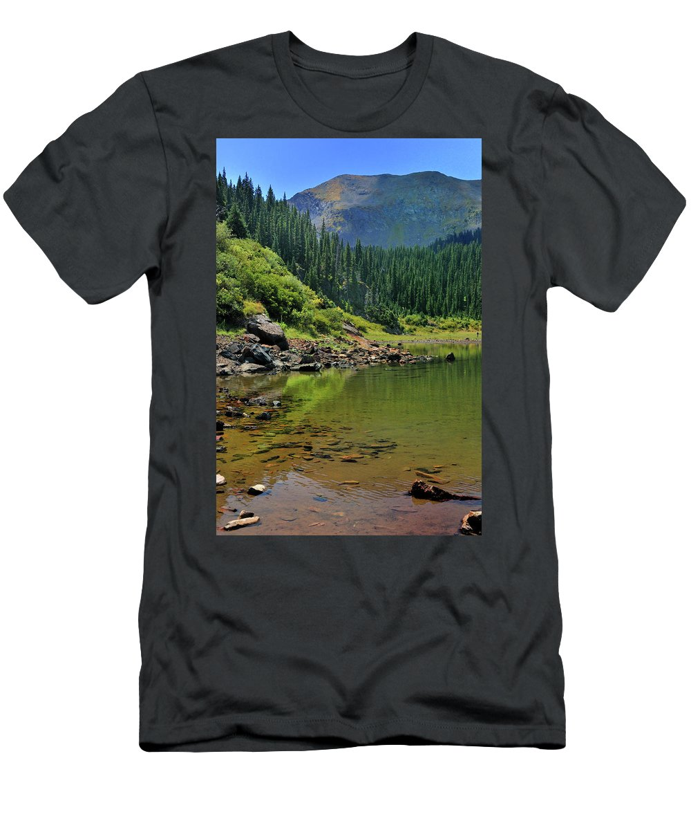 Mountain Men's T-Shirt (Athletic Fit) featuring the photograph Williams Lake by Ron Cline