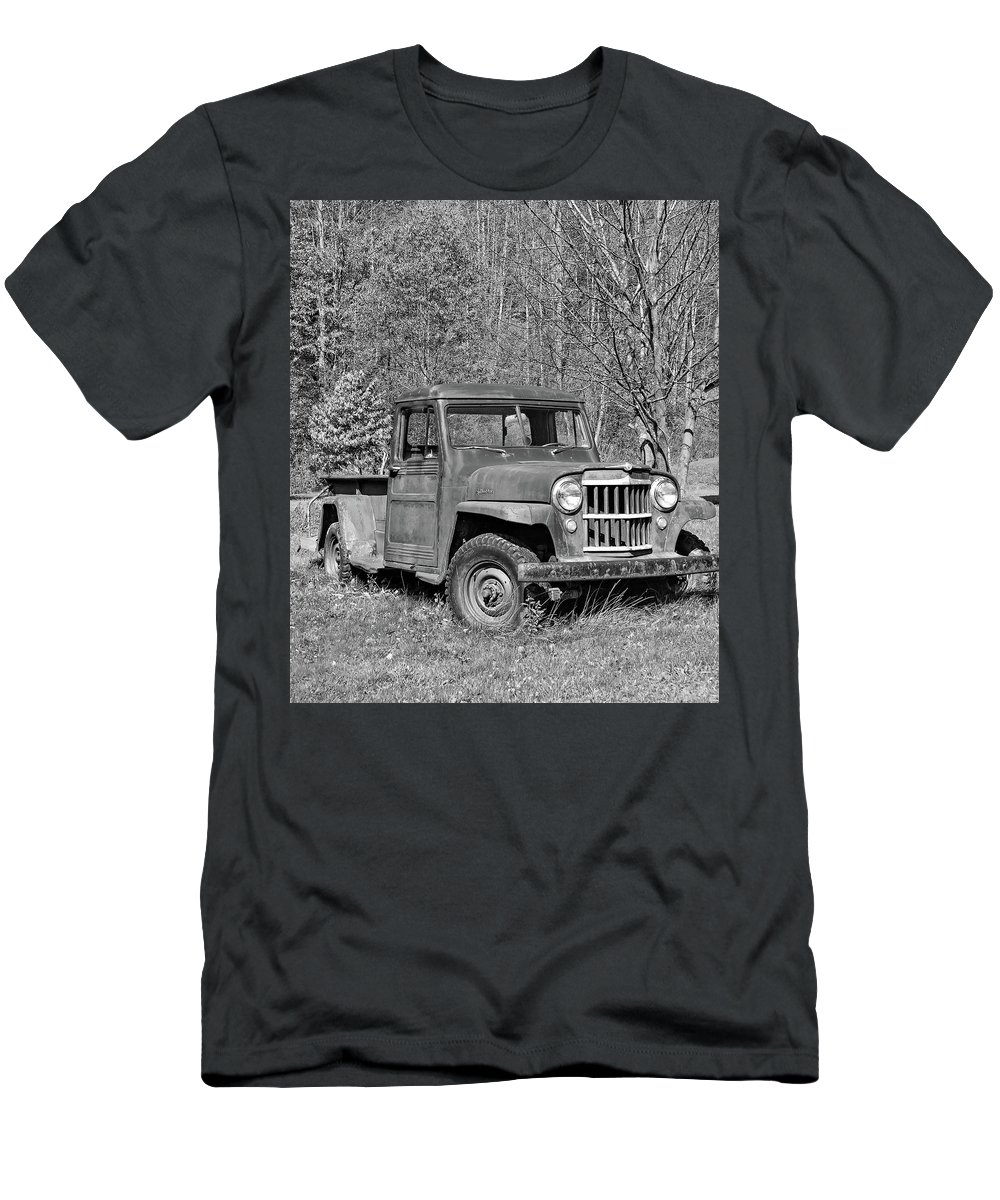 Vehicle Men's T-Shirt (Athletic Fit) featuring the photograph Willys Jeep Pickup Truck Monochrome by Steve Harrington