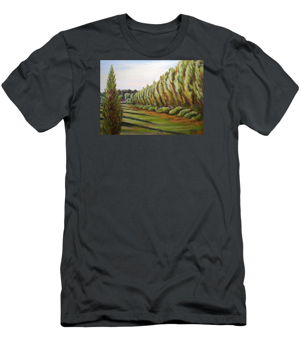 Oil Painting T-Shirt featuring the painting Windbreak Evening by Karla Beatty