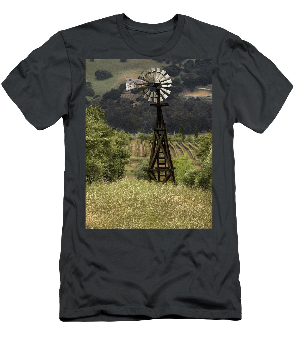 Landscape Men's T-Shirt (Athletic Fit) featuring the photograph Windmill And Vineyards by Karen W Meyer