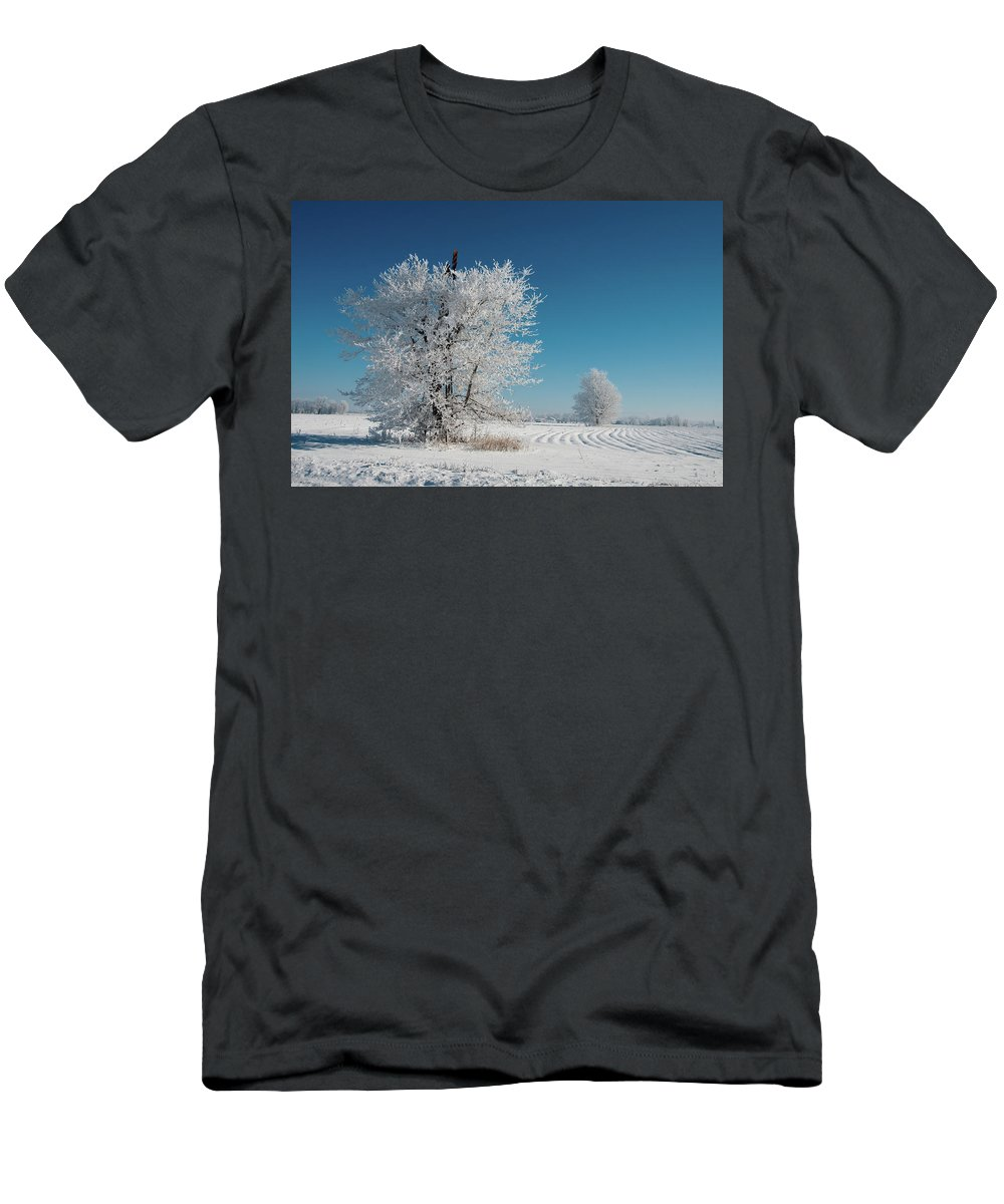 Windmill Men's T-Shirt (Athletic Fit) featuring the photograph Windmill In The Frost by David Arment