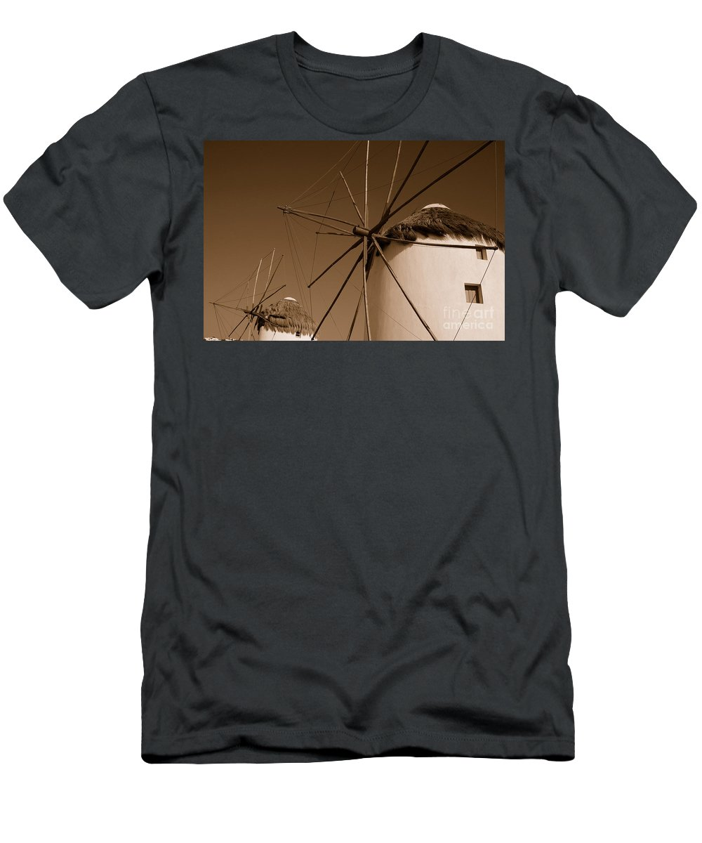 Mykonos Men's T-Shirt (Athletic Fit) featuring the photograph Windmills In Sepia by Joe Ng