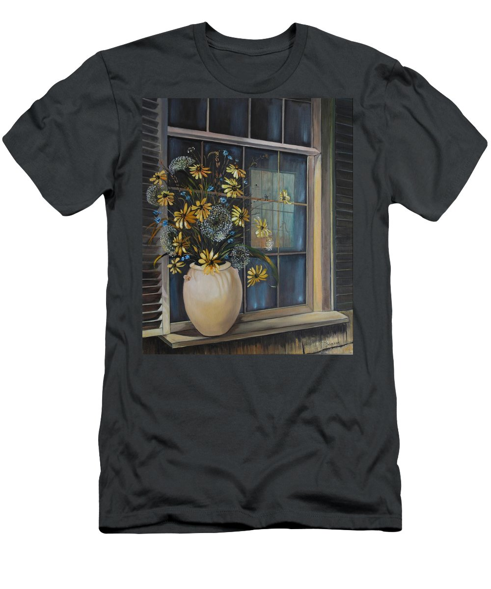 Wild Flowers Men's T-Shirt (Athletic Fit) featuring the painting Window Dressing - Lmj by Ruth Kamenev