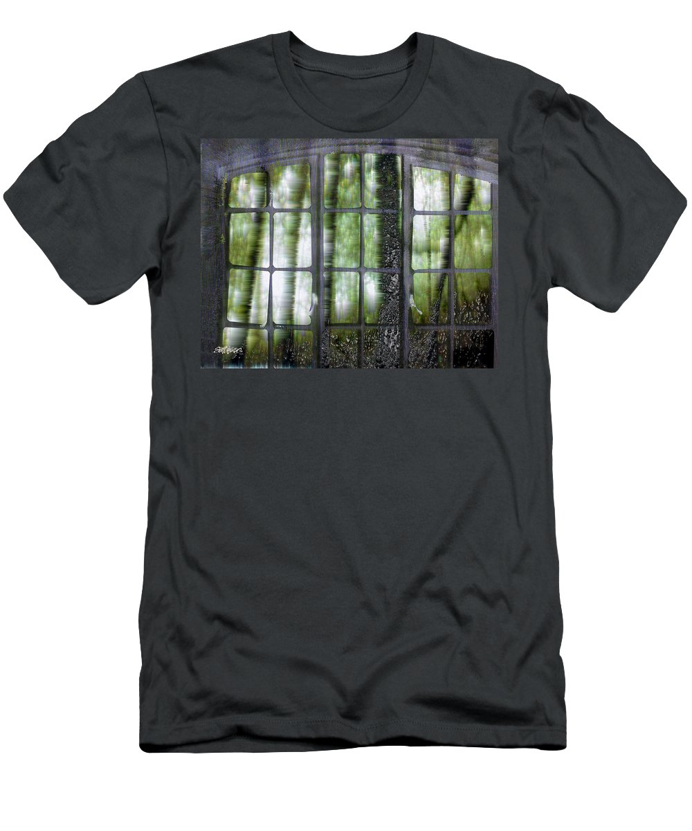 Window On The Woods Men's T-Shirt (Athletic Fit) featuring the digital art Window On The Woods by Seth Weaver