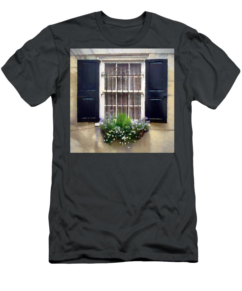 Window Men's T-Shirt (Athletic Fit) featuring the digital art Window Shutters And Flowers II by Ronald Bolokofsky