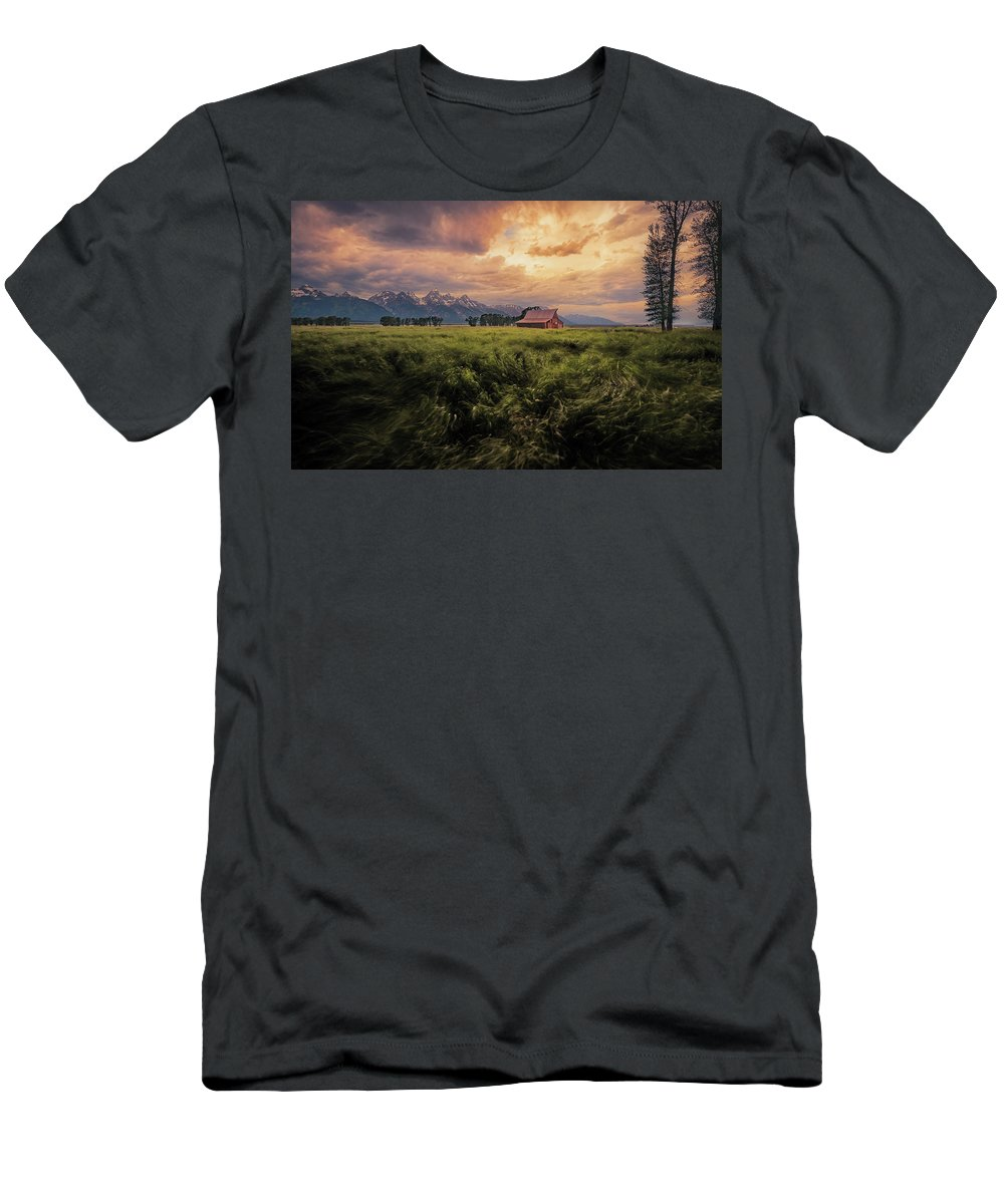 Barn Men's T-Shirt (Athletic Fit) featuring the photograph Windstorm On The Prairie by Rajesh Jyothiswaran
