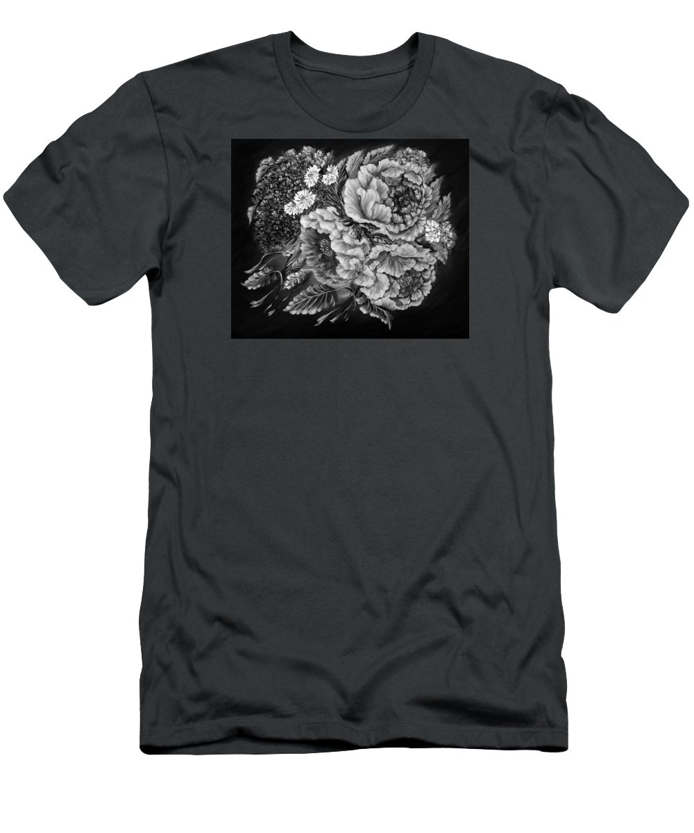 Amazing Print Men's T-Shirt (Athletic Fit) featuring the digital art Windy Flowers Black And White by Katreen Queen