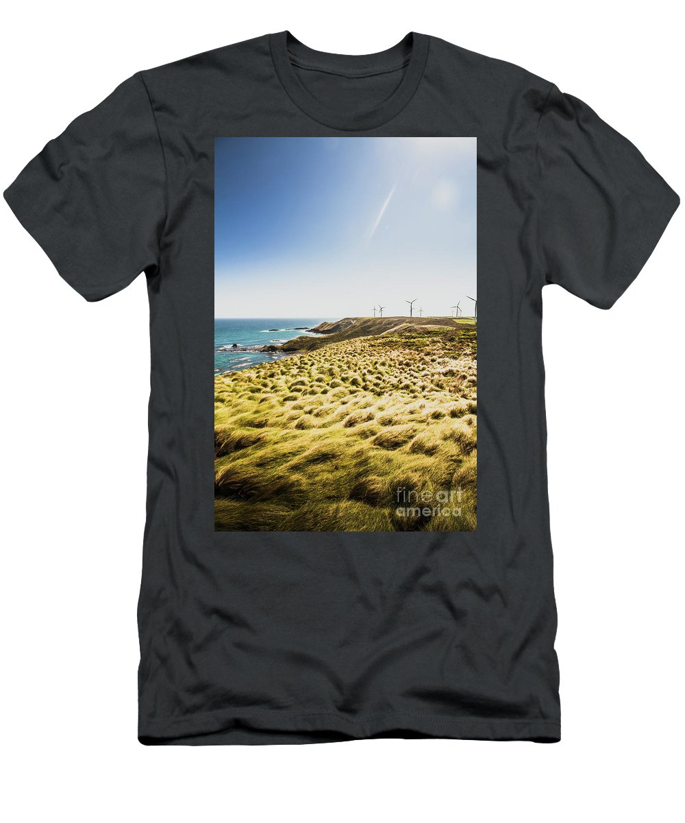 Ocean Men's T-Shirt (Athletic Fit) featuring the photograph Windy Meadows by Jorgo Photography - Wall Art Gallery