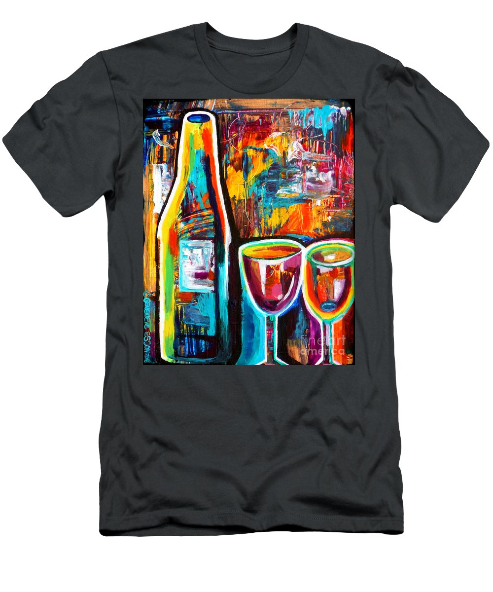 Wine Men's T-Shirt (Athletic Fit) featuring the painting Wine Lovers Abstract by Genevieve Esson