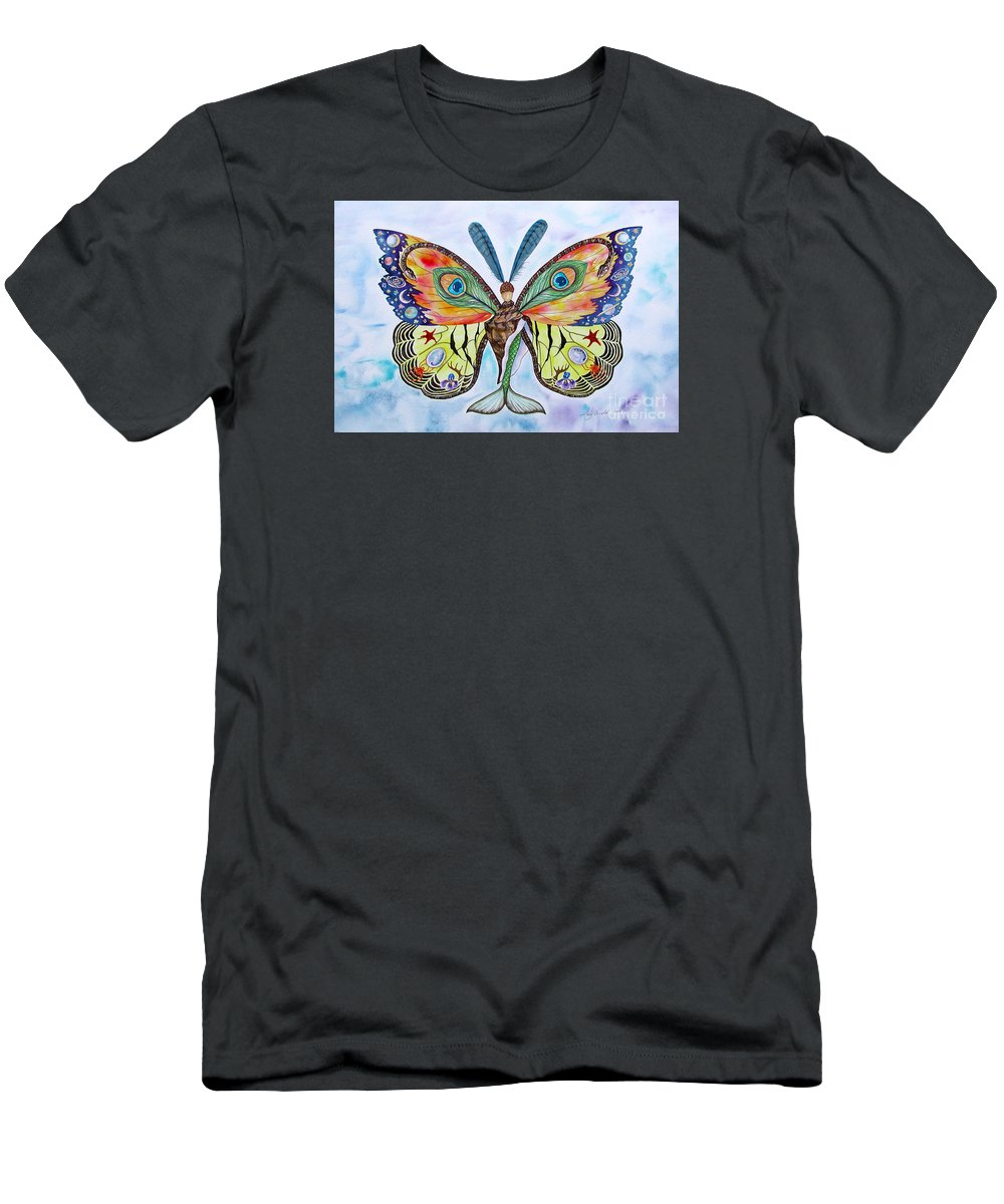 Butterfly Men's T-Shirt (Slim Fit) featuring the painting Winged Metamorphosis by Lucy Arnold
