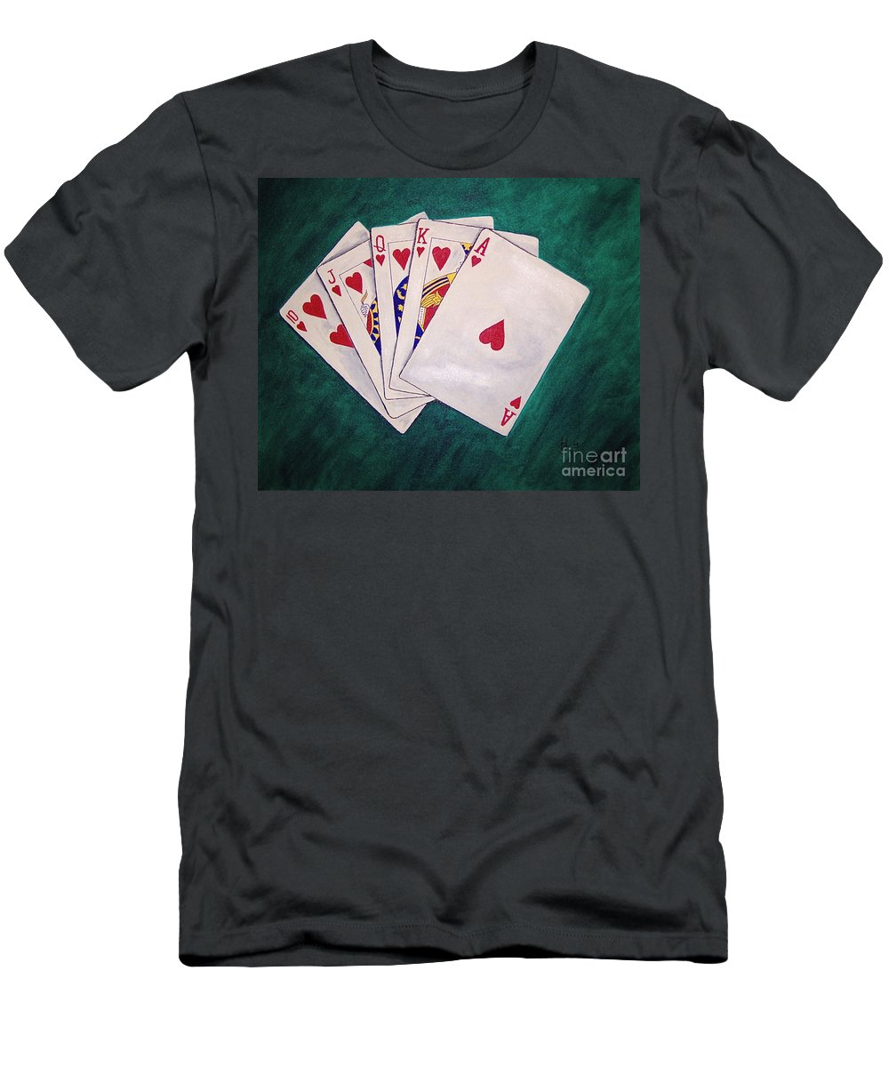 Playing Cards Wining Hand Role Flush Men's T-Shirt (Athletic Fit) featuring the painting Wining Hand 2 by Herschel Fall