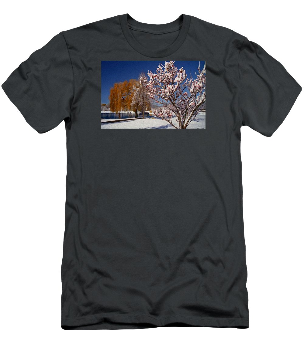 Winter Snow Men's T-Shirt (Athletic Fit) featuring the photograph Winter Berries by Martin Massari