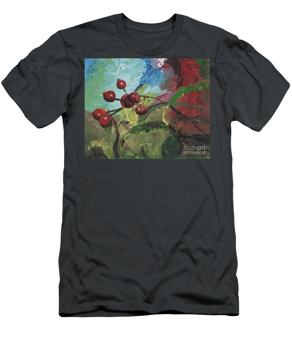 Berries Men's T-Shirt (Athletic Fit) featuring the painting Winter Berries by Nadine Rippelmeyer