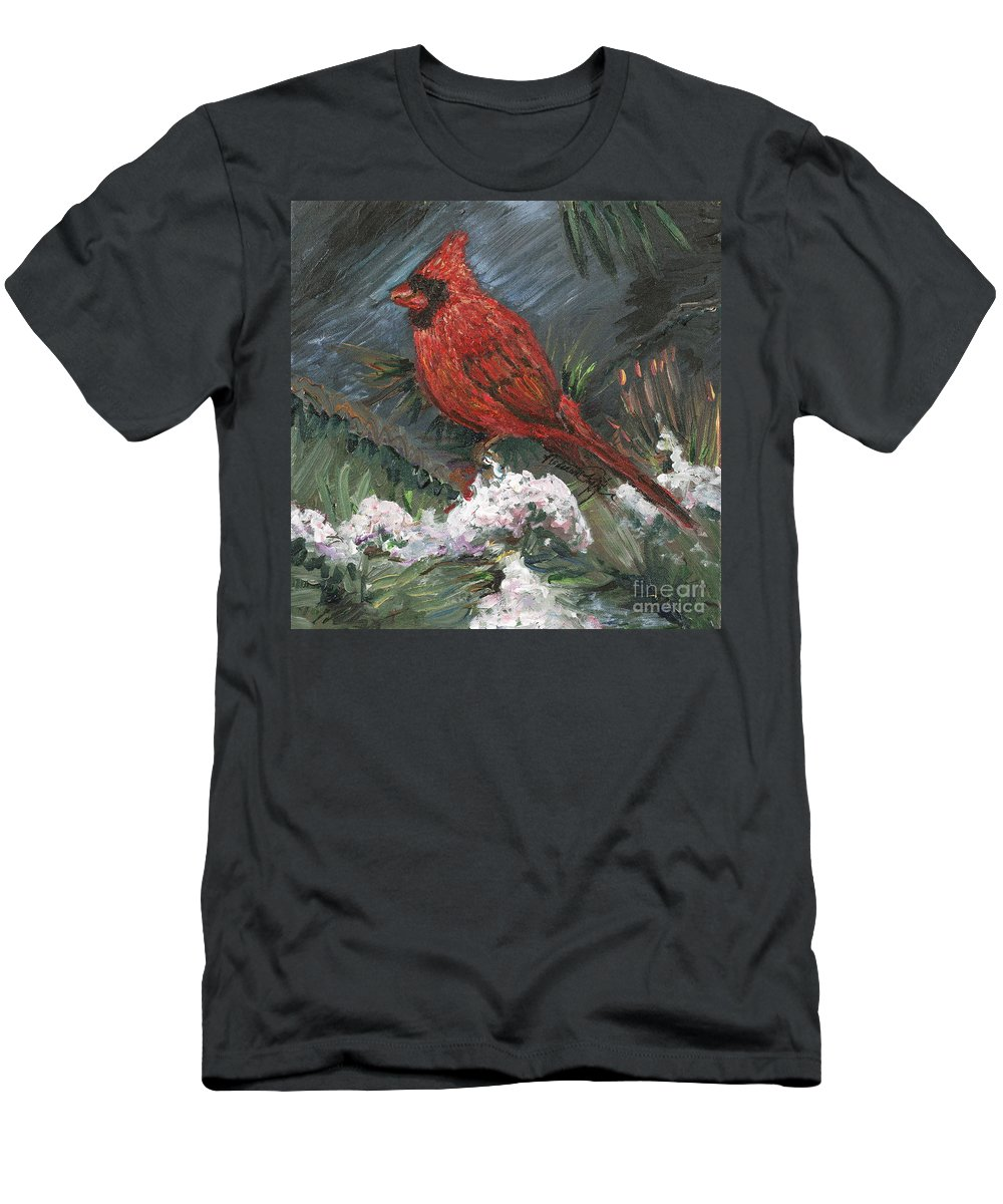 Bird Men's T-Shirt (Athletic Fit) featuring the painting Winter Cardinal by Nadine Rippelmeyer