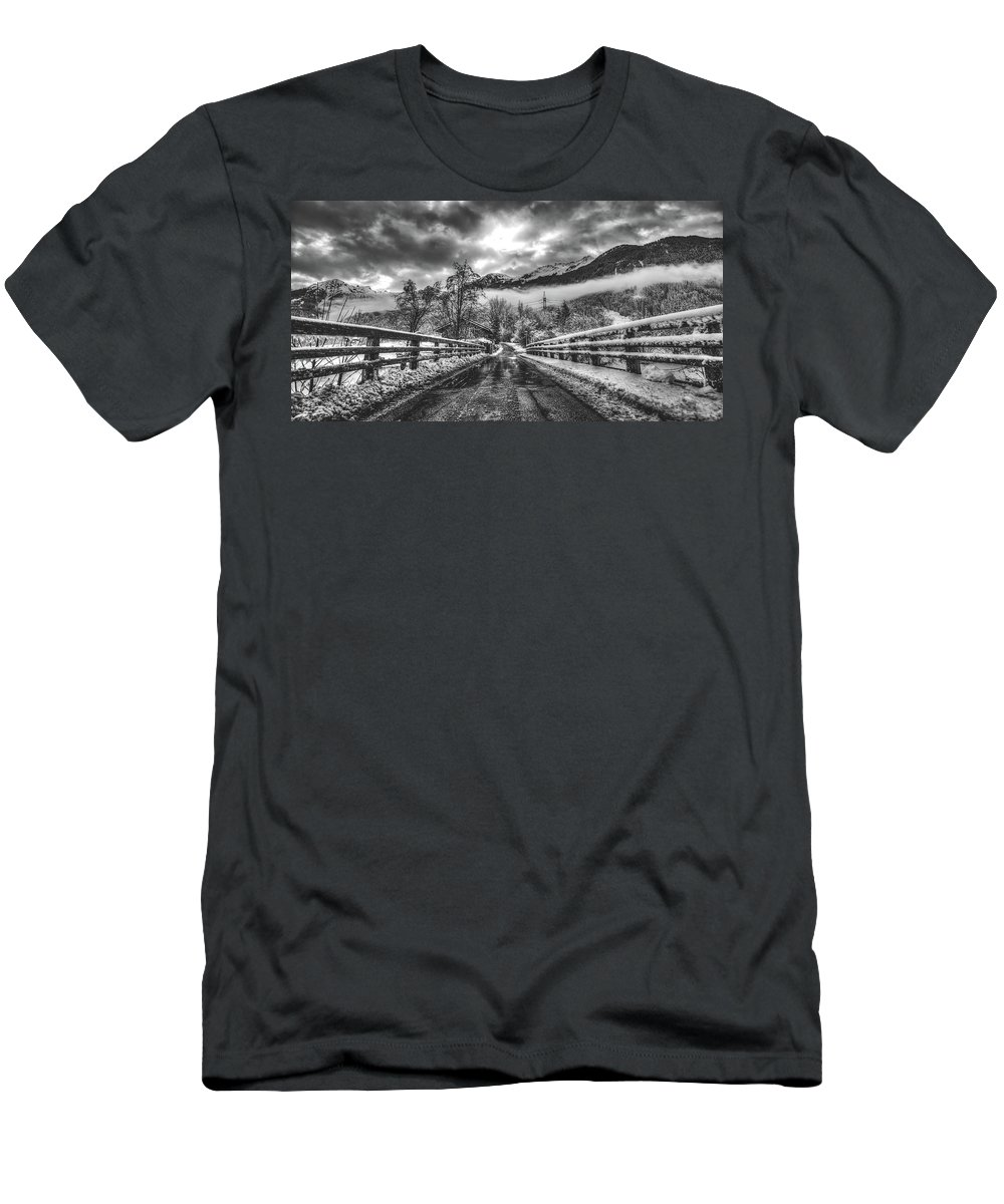 Winter Men's T-Shirt (Athletic Fit) featuring the photograph Winter Crossing by Skitterphoto
