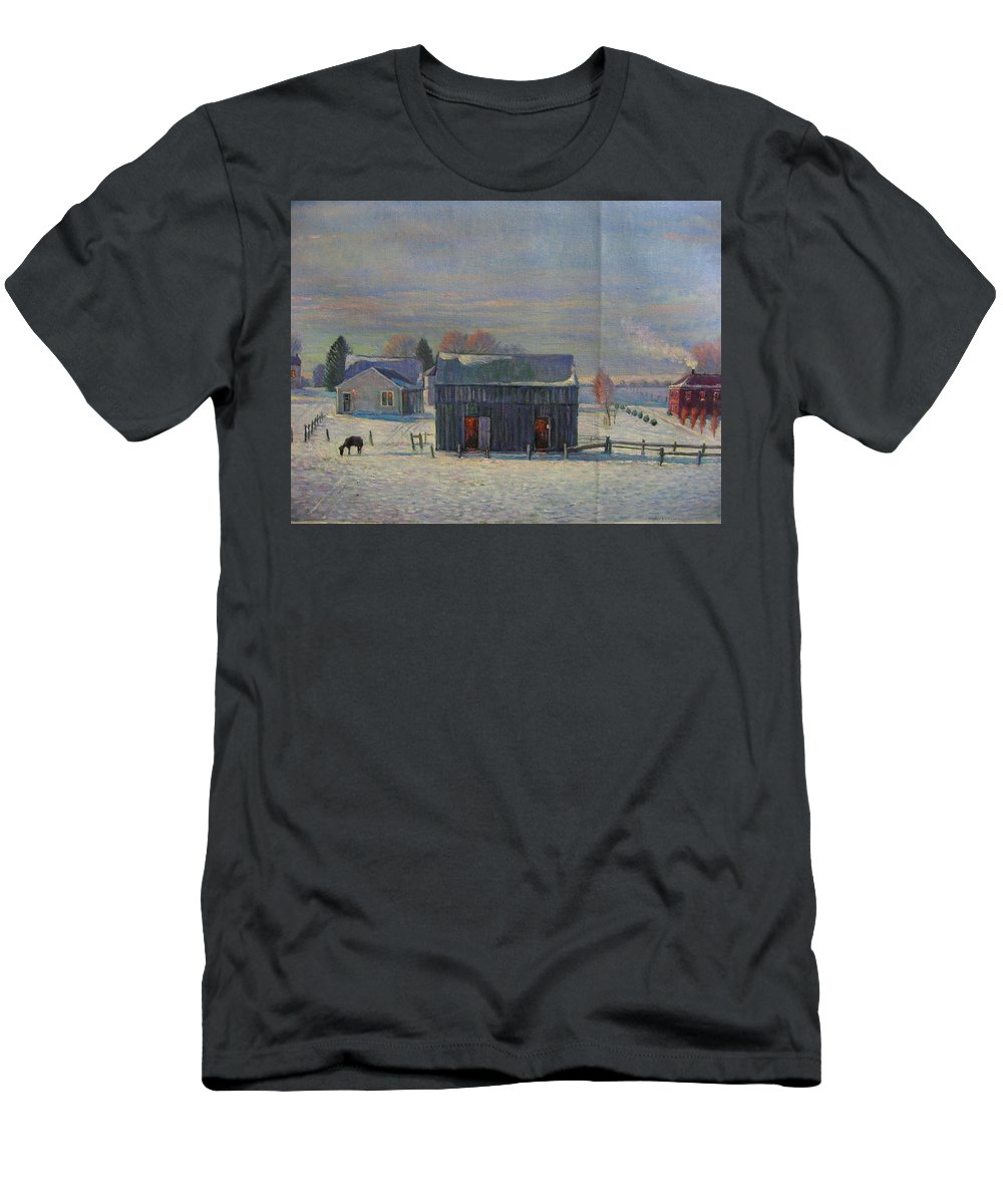 Men's T-Shirt (Athletic Fit) featuring the painting Winter by Deliang Ma