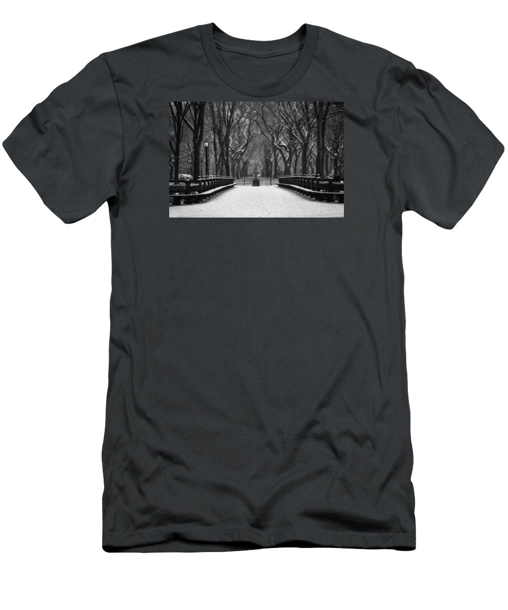 Central Park After A Snow Storm Men's T-Shirt (Athletic Fit) featuring the photograph Winter In The Park by John Rizzitelli