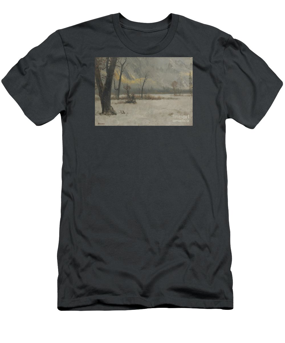 Albert_bierstadt_-_winter_landscape. Forest Men's T-Shirt (Athletic Fit) featuring the painting Winter Landscape by MotionAge Designs