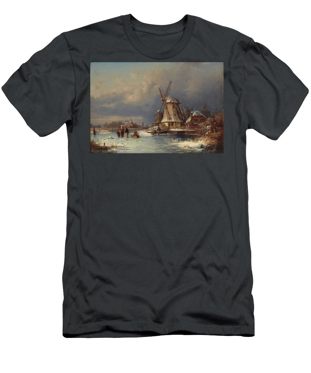 Joseph Magnus Stack Winter Landscape With Mills Zaardam Men's T-Shirt (Athletic Fit) featuring the painting Winter Landscape With Mills Zaardam by MotionAge Designs