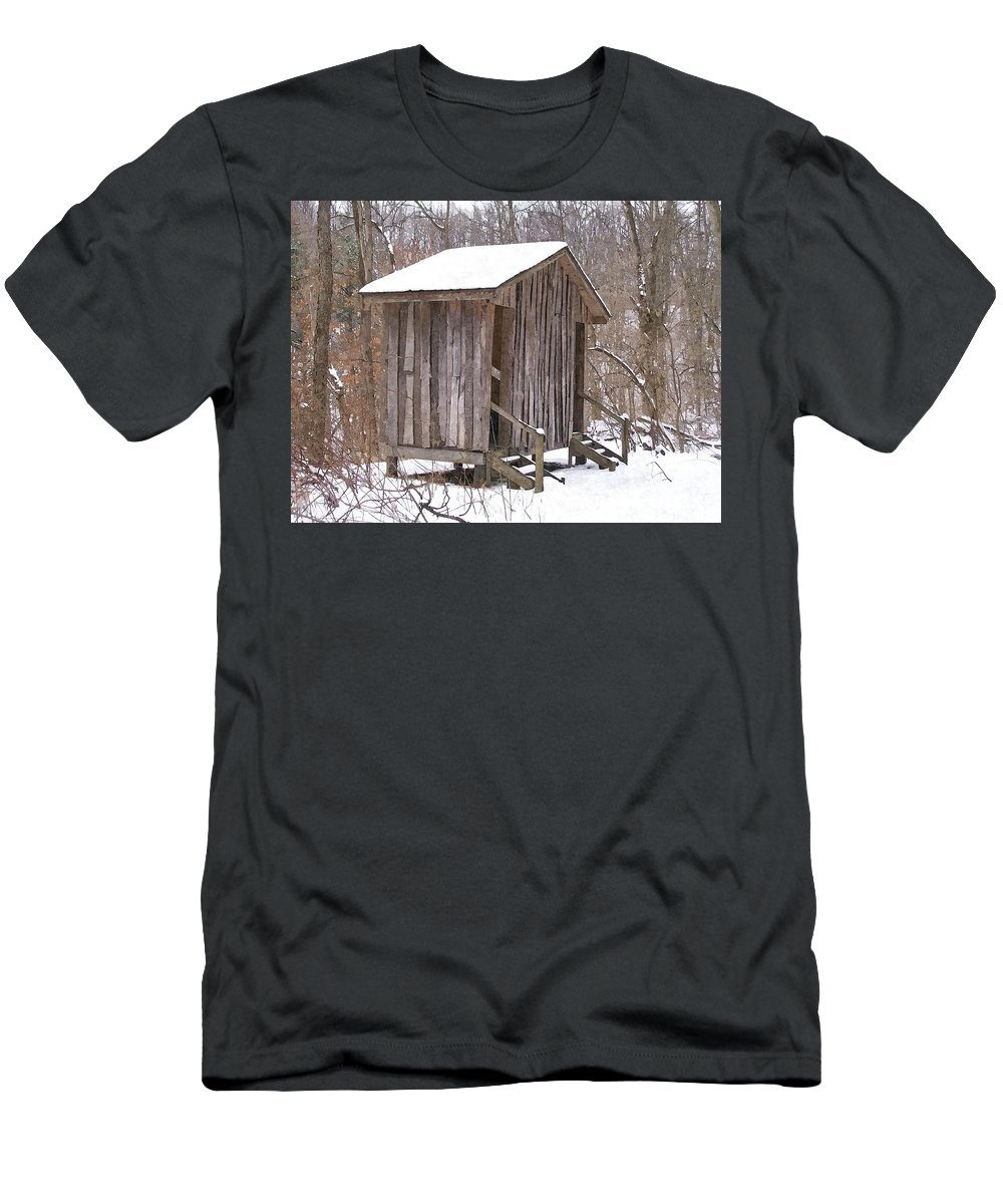 Cabin Men's T-Shirt (Athletic Fit) featuring the photograph Winter Lookout In Oil by Sara Raber
