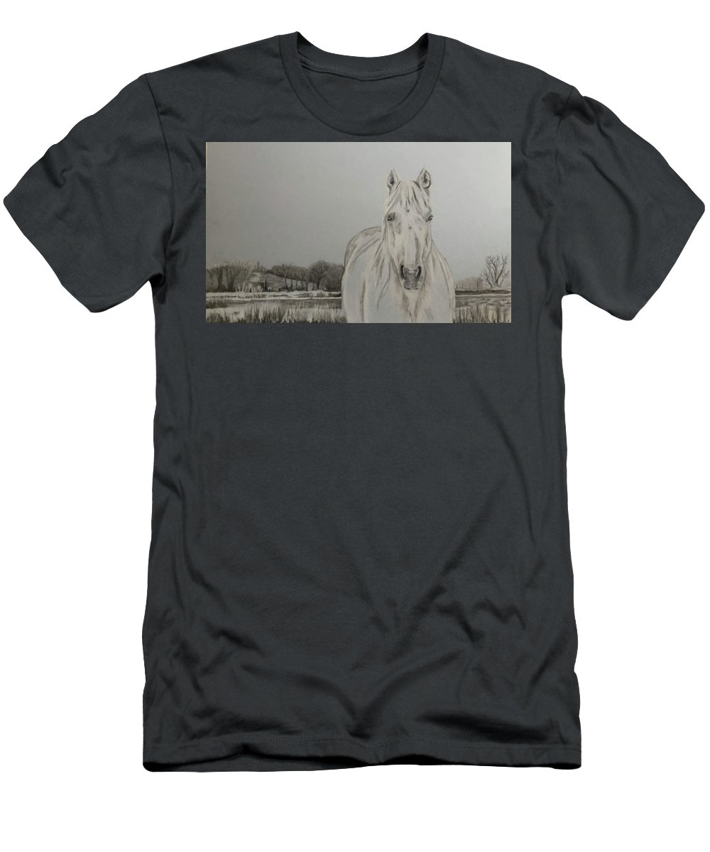 Horse Men's T-Shirt (Athletic Fit) featuring the drawing Winter Mare by Dani Altieri Marinucci