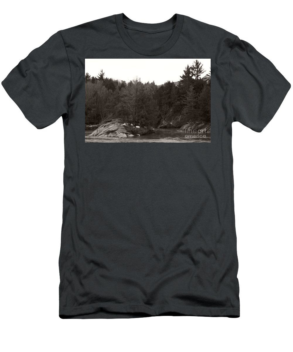Men's T-Shirt (Athletic Fit) featuring the photograph Winter River Number Two by Heather Kirk