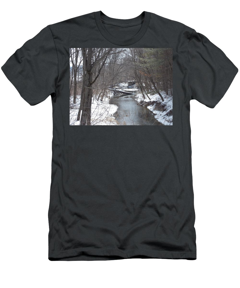 Snow Men's T-Shirt (Athletic Fit) featuring the photograph Winter Winding Down by Coleen Harty