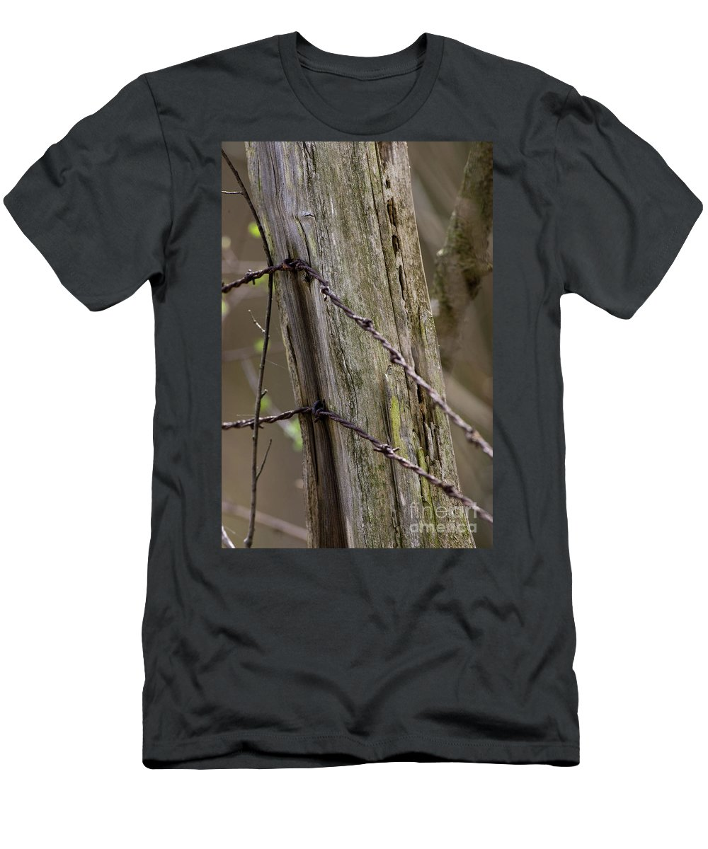 Animal Men's T-Shirt (Athletic Fit) featuring the photograph Wire That Tamed The West by Alan Look