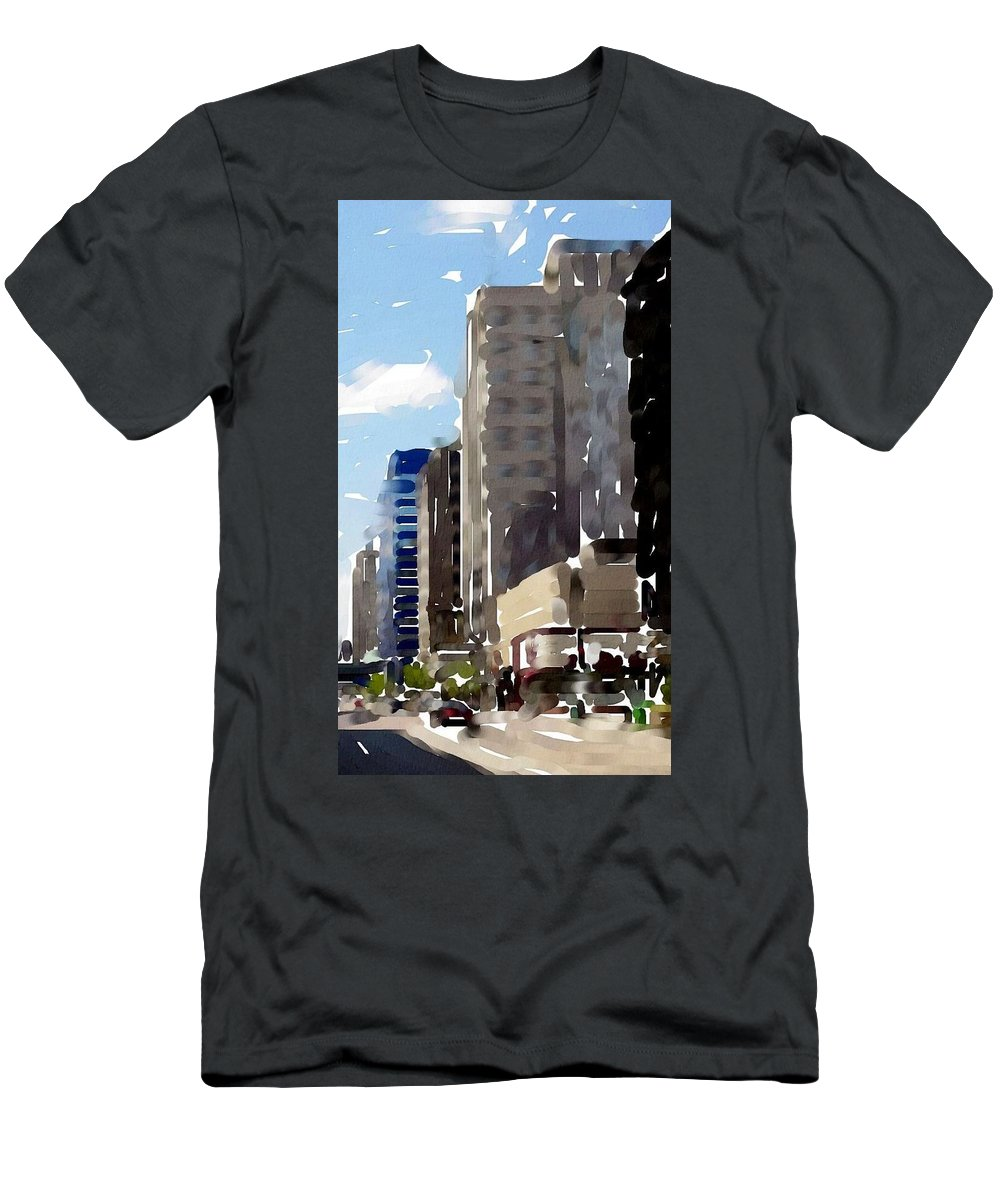 Milwaukee Men's T-Shirt (Athletic Fit) featuring the digital art Wisconsin Ave 1 by Anita Burgermeister