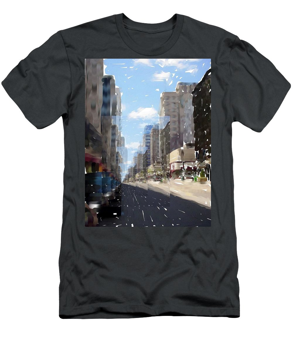 Milwaukee Men's T-Shirt (Athletic Fit) featuring the digital art Wisconsin Ave Cubist by Anita Burgermeister
