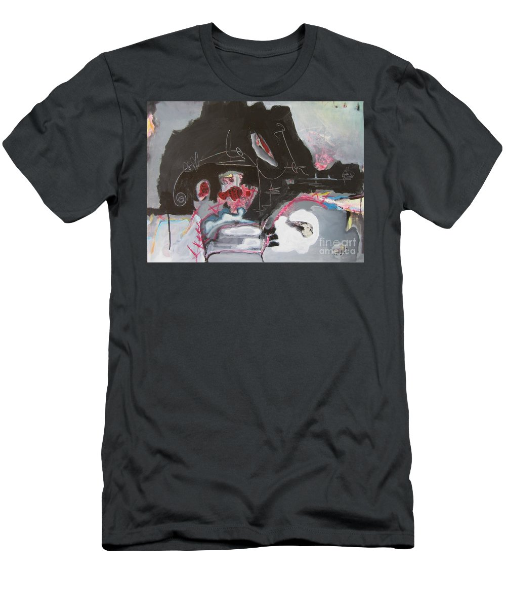 Abstract Paintings Men's T-Shirt (Athletic Fit) featuring the painting With Little Escape From Life by Seon-Jeong Kim