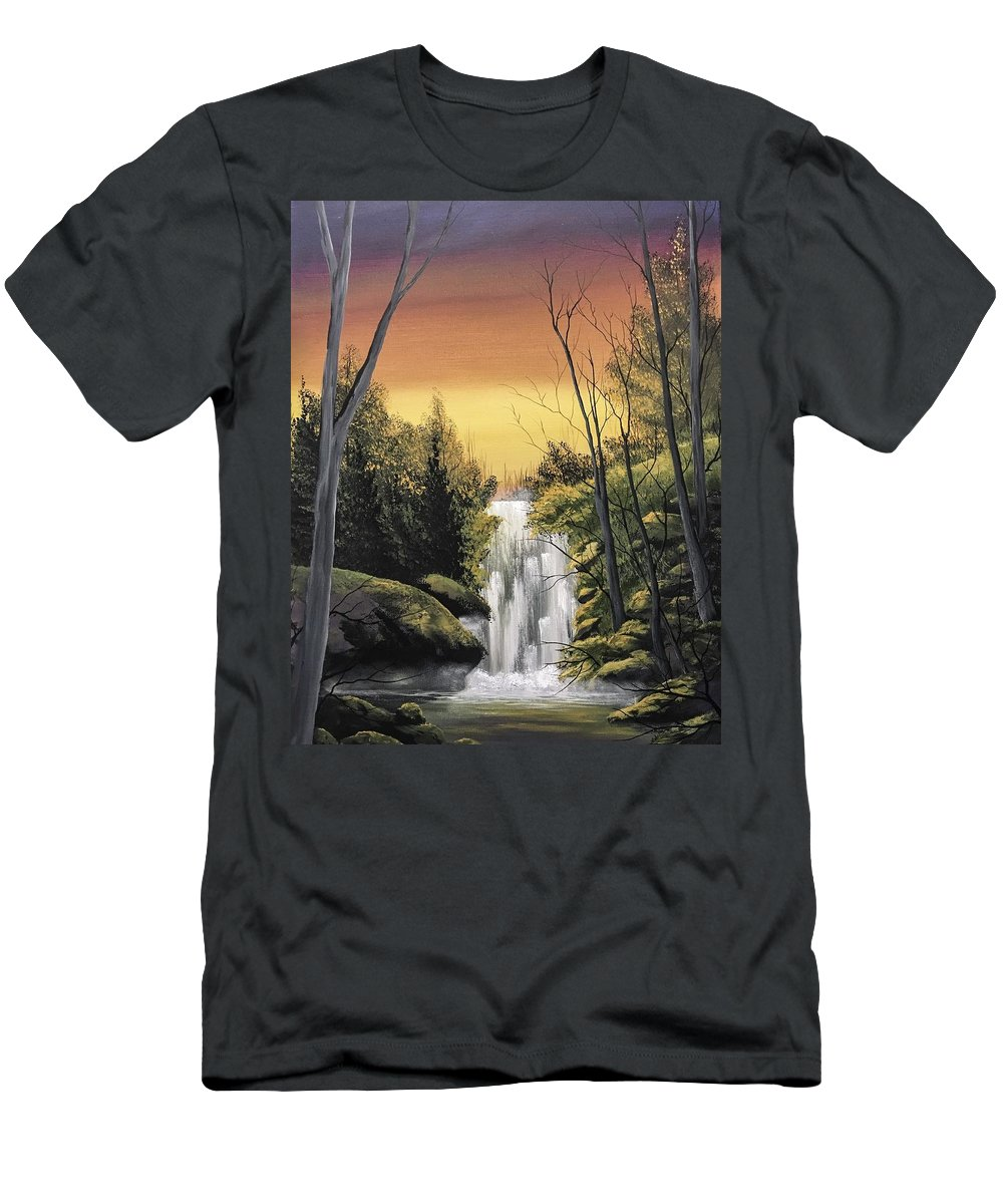 Waterfall Men's T-Shirt (Athletic Fit) featuring the painting Without Interruption by Glen Mcclements