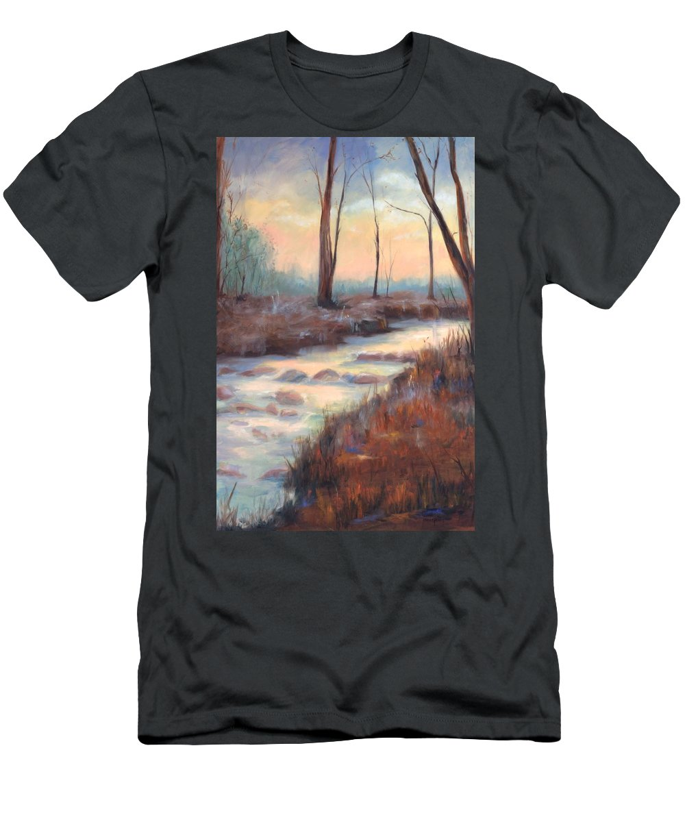 Creeks Men's T-Shirt (Athletic Fit) featuring the painting Wolf Creek by Ginger Concepcion