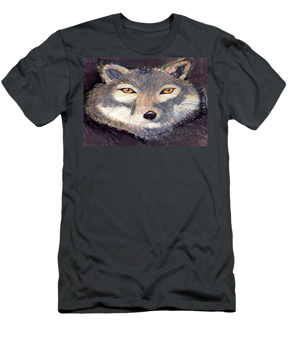 Wolf Men's T-Shirt (Athletic Fit) featuring the painting Wolf by Kevin Middleton