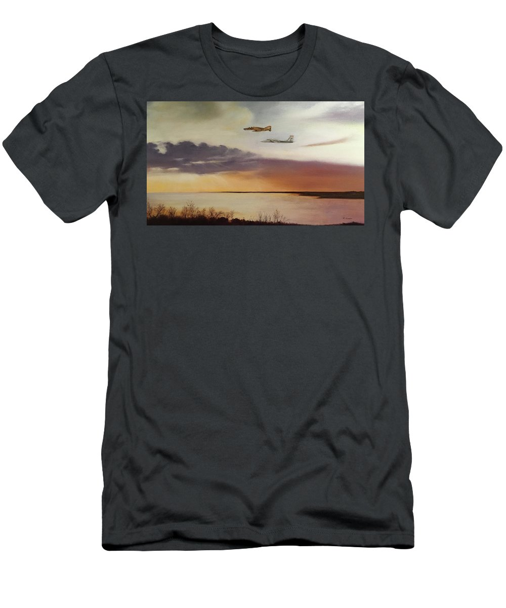 Landscape Men's T-Shirt (Athletic Fit) featuring the painting Wolfhounds On Patrol by Richard Ginnett